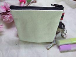Mens Wallets Coin Purse Canada - Cream White canvas coin purses DIY Mens blank plain cotton small bags red zipper Fashion casual wallets key cases pouches