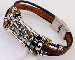 $enCountryForm.capitalKeyWord Canada - New casted China dragon beaded leather bracelet,silver ox plated with brown band