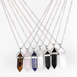 natural black stone pendant 2019 - High quality Natural Stone Bullet Shape Necklaces Hexagonal Prism Quartz turquoise Crystal gems Pendant Silver chains Fo