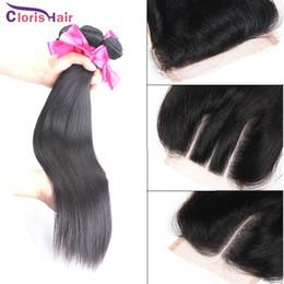 hair bundles way closure 2019 - Unprocessed Straight Peruvian Virgin Human Hair Weaves 3 Bundles With Lace Closure Cheap Milky Way Wefts Silk Top Closur