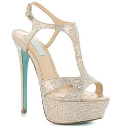 $enCountryForm.capitalKeyWord NZ - Beige Wedding Shoes Platform Open Toe T-straps Thin High Heels Women Sandals T-straps Handmade Evening Party Dancing Shoes Custom Size US7