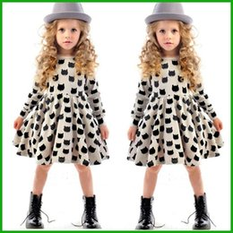 Wholesale tyfactory baby girl autumn dress children black cat long sleeve clothes kids casual cotton dot clothing autumn princess girls dresses