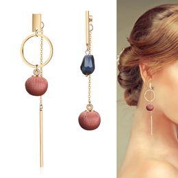 Discount gold earring drops designs - Fashion Asymmetrical Tassels Cloth Ball Drop Earring Purple Brown Red Creative Big Crystal Circle Design Earring For Wom