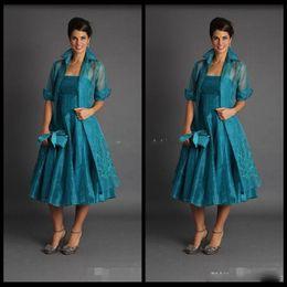 Elegante Uma Linha Plus Size Curto Mãe dos Vestidos de Noiva 2018 Jaqueta Teal Comprimento Ternos Vestidos de Noite Barato Organza venda por atacado