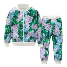 Fall clothes For toddlers online shopping - Floral Tracksuits for Girls Fall Casual Designer Bomer Jackets and Pants Set Boutique Children Clothes Trendy Toddler Clothing Sets