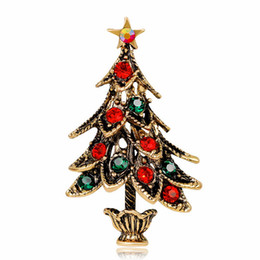 wholesale rhinestone brooches UK - Brand New Christmas Brooch Creative Vintage Alloy Rhinestone Christmas Tree Brooches Antique Gold and Sliver Plated DHL Free Shipping