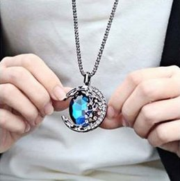 Moon blue crystal necklace online moon blue crystal necklace for sale fashion blue moon necklaces pendants vintage long necklace for women 2016 austrian crystal designer jewelry for christmas unique gifts aloadofball Images