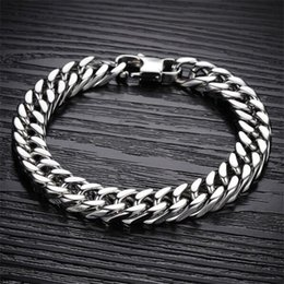 Men Design Stainless Steel Bracelet Canada - Simple Punk Design Man Link Chain Bracelets Fashion 19cm 20cm 21cm 22cm Long Full Stainless Steel Charm Men Jewelry