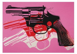 $enCountryForm.capitalKeyWord NZ - Framed Gun 1981-82 black white red on pink by Andy Warhol,Pure Hand painted world famous Art Oil Painting Canvas,Mulit sizes prin