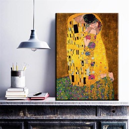 ZZ764 2017 Gustav Klimt Kiss Printed Painting On Canvas Wall Art Picture  For Living Room Home Decor Or Hotel Unframed Paintings