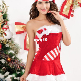 Santa Claus Clothes Woman Sexy Canada - 2016 Winter Velvet Sexy Striped Slash Neck Strapless With Hat Clothes Christmas Costume for Women Sleeveless Bodycon Party Mini Dresses