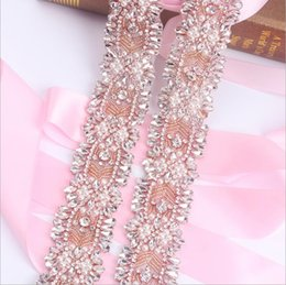 Barato Grossistas Vestidos De Noiva-Sashes Rhinestone Wedding Belt Vestido de casamento Belt Bridal Belt Glass Crystal Handmade Pears Shinny Rose Gold White Gold Princess Wholesale