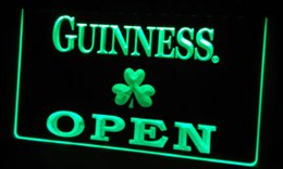 Neon Shamrock Light Canada - LS452-g Guinness Shamrock OPEN Neon Light Sign