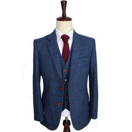 China Wool Blue Herringbone Retro gentleman style custom made Men's suits tailor suit Blazer suits for men 3 piece (Jacket+Pants+Vest) supplier tuxedo pants for men suppliers