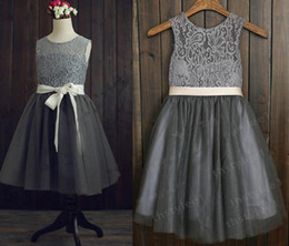 Dresses For Grils Canada - 2016 hot sale Gray Lace Tulle flower girl dress Kids junior Bridesmaid Dresses Grils Party Pageant Dresses For Girls