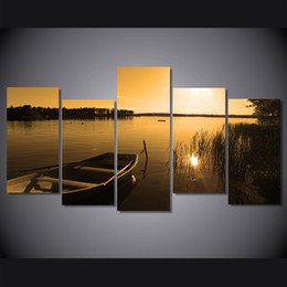 $enCountryForm.capitalKeyWord NZ - 5 Pcs Set Framed Printed sunset lake Boat nature landscape Painting on canvas room decor print poster picture canvas Free shipping ny-5022