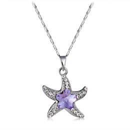 neoglory jewelry Australia - High Quality Imitation Rhodium Plated Five Stars Crystal Penadnt Necklace For Women Neoglory Fashipn Jewelry Purplle Drop Shipping NJ-0007