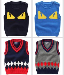 Barato Camisola Do Pulôver Do Pescoço Dos Meninos V-Baby Boy Knit Coletes Crochet Pullover Sweaters V-Neck Jumper Fall Winter Baby Kids Clothings Drop Shipping