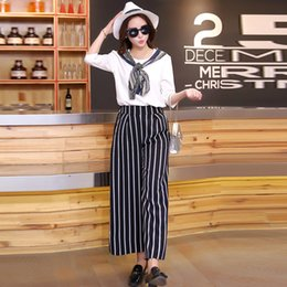 98d0db95053f0 Black White Stripe Wide Leg Chiffon Pants New 2016 Spring Summer Pants Plus  Size Women Clothing Ankle Length Trousers