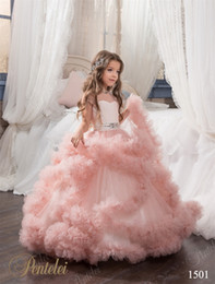 $enCountryForm.capitalKeyWord NZ - Flying-cloud Flower Girls Dresses 2016 Pentelei Princess Tiered Blush Pink Tulle Tutu Girls Pageant Gowns Floor Length Custom Made