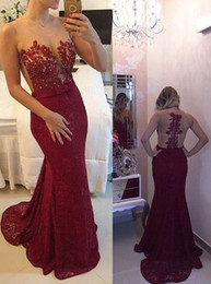 $enCountryForm.capitalKeyWord Australia - Sexy Maroon Prom Dresses Sheer Scoop Neck Sleeveless Appliques Lace Burgundy Beaded Mermaid Long Formal Cocktail Party Dress Evening