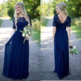 $enCountryForm.capitalKeyWord Canada - Country Bridesmaid Dresses Sleeves 2016 Hot Sale Navy Blue Lace And Chiffon Fitted Sequins With Sash Long Maid Of Honor Gowns EN6183