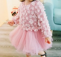 Dentelle Tutu Manches Longues Pas Cher-Hug Me Girls Dress Enfant Vêtements 2017 Spring Lace Tutu Robe Fashion Long Sleeve Flower Princess Dress YAN-690