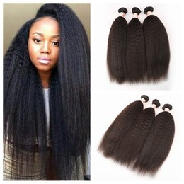 "best afro weaves Canada - Malaysian Kinky Straight Hair Weft 3 Pcs Lot Hair Weaves Best Afro G-EASY Hair Products Seller Online 8""-30"""