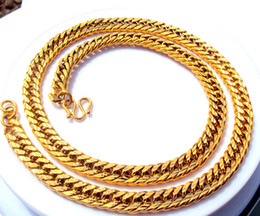 $enCountryForm.capitalKeyWord Canada - Wholesale - 18K Gold GF Men two-sided antiskid Cuban Link Curb Chain Necklace W button