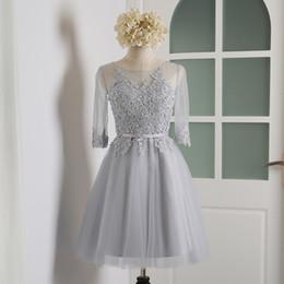 $enCountryForm.capitalKeyWord NZ - Bateau Neck Lace Tulle Short Bridesmaid Dress With Half Sleeves 2019 Knee Length Party Dress Gray