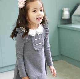 Korean Winter Party Dresses Canada - 2016 Spring Autumn New Arrival Cotton Girl Korean Clothes Doll Collar Long Sleeved Casual Mini Dress Kids Clothing Party Prom