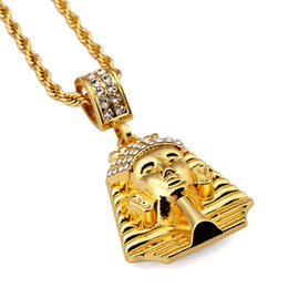 pharaoh chain pendant Australia - Fashion Men Charm Hip Hop Pharaoh Necklace Jewelry Stainless Steel 18k Gold Plated Chain Pendant Men Punk Rock Rap Filled Long Chains 75cm