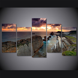 $enCountryForm.capitalKeyWord NZ - 5 Pcs Set Framed Printed Sunset Beach reef Painting on canvas room decoration print poster picture canvas Free shipping ny-4972