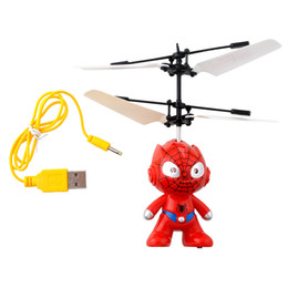 wholesale electric helicopters Canada - Small Mini RC Spider Man Aircraft Flying Induction Helicopter Charging Kid Toys Gift