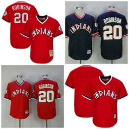 fdd472f98dd 2017 Mens Cleveland Indians Jerseys 20 Frank Robinson Throwback Baseball  Jerseys Red Navy Stitched Size S ...