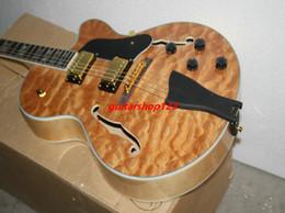 Großhandel Custom Shop Tiger flamme F loch natürliche Jazz E-gitarren Großhandel gitarren freies verschiffen