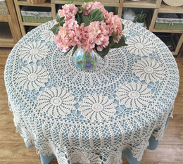 High Quality  Round Crocheted Tablecloth, Vintage Style Table Cover,  Handmade Table Topper, Chic Pattern Crochet Cloth Af005
