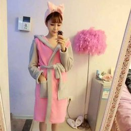 wholesale cosplay women bathrobe robe cartoon pajamas nightgown hooded robe bathrobe leisurewear flannel winter thick pijama mujer primark - Flannel Nightgowns