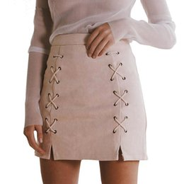 Barato Saia Alta Cintura Alta-Venda por atacado- Mulheres Senhoras High Waisted Pencil Skirt Bodycon Suede Leather Mini Skirt Club UK