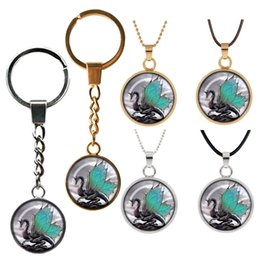 double circle glasses NZ - Double sided glass pendant key chain Dragon HD photo Jewelry necklace Good gift to your friend