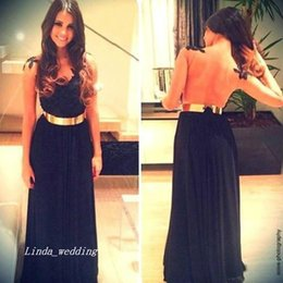 evening gown belt sashes NZ - Free Shipping Sweetheart A Line Nude Back Black Lace Chiffon Gold Belt Dress Formal Prom Evening Gown Girls Party