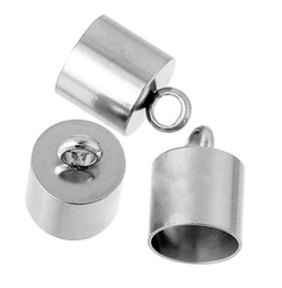China 100 pcs Stainless Steel Necklace Cord End Caps Cylinder Silver Tone Color For DIY Finding jewelry Making cheap jewelry cap ends suppliers