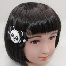 $enCountryForm.capitalKeyWord UK - 10pcs  Lot Cartoon White And Black Panda Bear Hair Clips No Slip Velour Animal Hairpin Girls Cutie Princess Gift