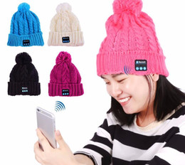Bluetooth Beanies Canada - Women Soft Warm bluetooth Hat Knitted Beanie Cap Handfree Music Hat Wireless Bluetooth Hat Smartphone Stereo Headset Speakers