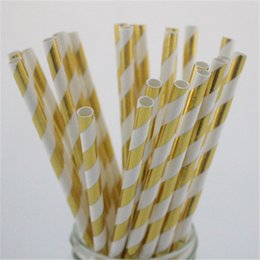 disposable straws free shipping Canada - Free shipping!! Disposable party tableware rose gold foil wedding paper straw party paper drinking straw for babyshower Christmas Halloween