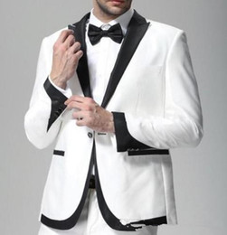 Grooms White Suit Canada - king shop hot sale Mens White Wedding Suits Groom Tuxedos Formal Suits Business Party Suits Blazers