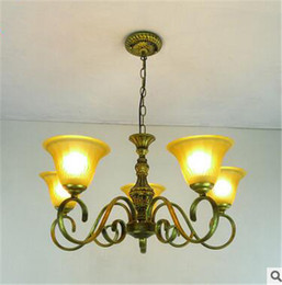 Energy Saving Shades Australia - LRE006-2016New Design European Style Glass Chandelier Iron Lights Body with Glass Light Shade European Style Antique Pendant Lamp