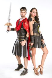 Costumes De Costumes De Couple Pas Cher-Sexy Adultes Couples Roman Spartan Warrior Gladiator Fête d'Halloween Robe de fête 8-12