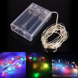party decoration blue Canada - 4.5V 2M 3M 5M 50Leds Battery Operated LED Copper Wire String Fairy Lighting for Xmas Party Wedding Decoration White red blue Pink