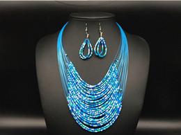 Новые моды старинные ювелирные наборы Джокер чешские многослойные красочные Африки бусины заявление ожерелье серьги набор KX